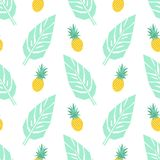 Tropical trendy seamless pattern with pineapples and mint green palm leaves on white background. Exotic Hawaii art background. Fashion design for fabric Stock Photos
