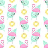 Tropical trendy seamless pattern with pink flamingos, donuts and green palm leaves on white background. stock illustration
