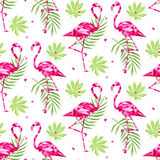 Tropical trendy seamless pattern with pink flamingos, and palm leaves. Summer, Exotic Hawaii art background, memphis Stock Photography
