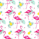 Tropical trendy seamless pattern with pink flamingos, and palm leaves. Summer, Exotic Hawaii art background, memphis Royalty Free Stock Photos