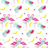 Tropical trendy seamless pattern with pink flamingos, and palm leaves. Summer, Exotic Hawaii art background, memphis Stock Image