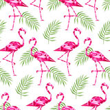 Tropical trendy seamless pattern with pink flamingos, and palm leaves. Summer, Exotic Hawaii art background, memphis Royalty Free Stock Images