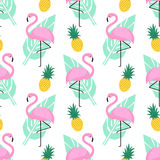Tropical trendy seamless pattern with pink flamingos, pineapples and green palm leaves on white background. Stock Photos