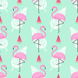 Tropical trendy seamless pattern with pink flamingos, watermelon and palm leaves on mint green background. Exotic Hawaii art background. Design for fabric Royalty Free Stock Photos