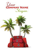 Tropical trip and red luggage Royalty Free Stock Images