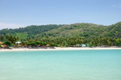 Tropical turquoise sea bay, paradise sandy beach, palm trees, tourist resorts, Haad Kwang Pao Beach in Nakhon Si Thammarat provinc. Tropical turquoise sea bay stock image