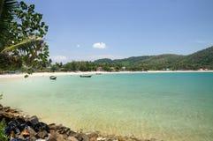 Tropical turquoise sea bay, paradise sandy beach, palm trees, tourist resorts, Haad Kwang Pao Beach in Nakhon Si Thammarat provinc. Tropical turquoise sea bay royalty free stock photography