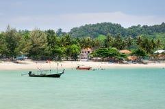 Tropical turquoise sea bay, paradise sandy beach, palm trees, tourist resorts, Haad Kwang Pao Beach in Nakhon Si Thammarat provinc. Tropical turquoise sea bay royalty free stock photo