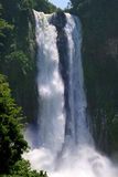 Tropical twin jungle waterfall stock photo