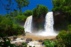 Tropical two waterfall. Stock Photos
