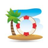Tropical vacation beach life buoy icon Royalty Free Stock Photo