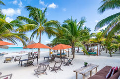 Tropical vacation beach resort view with palm trees. Tropical vacation resort summer view through palm trees with beautiful colourful decor, beach tables Royalty Free Stock Photography