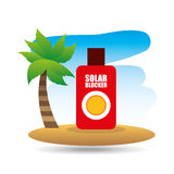Tropical vacation beach solar blocker icon. Vector illustration eps 10 Stock Image