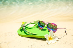 Tropical vacation concept—Green flip-flops, frangipani flower Stock Photography