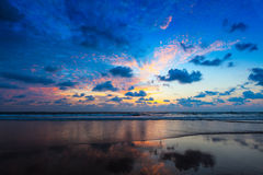 Sunset on Baga beach. Goa Royalty Free Stock Photography