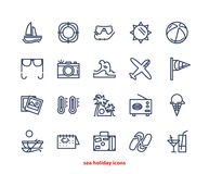 Tropical vacation line icons set. Travel and vacation icons collection Stock Photos