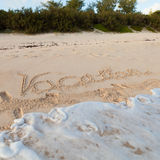 Tropical Vacation Sand Message Royalty Free Stock Image