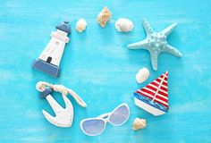 Tropical vacation and summer travel image with sea life style objects. Top view. Stock Photography