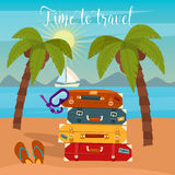 Tropical Vacation. Travel Baggage. Beach Vacation Stock Images