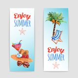 Tropical vacation travel banners set Royalty Free Stock Photos