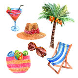 Tropical vacation travel watercolor icons set. Tropical island  vacation  travel  watercolor icons set with coconut palm and  straw sunhat abstract vector Stock Photography
