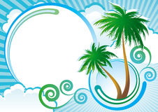 Tropical vector background. Tropical background with palm-trees, clouds and abstract elements. EPS8 vector Stock Photos