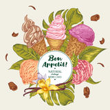Tropical vector background with soft ice cream Royalty Free Stock Images