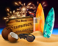 Tropical vector background. With summer night sky and wooden desk decorated with patio lights coconuts orange beverage surfing boards and sunglasses on a sand Stock Images