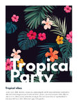 Tropical vector party flyer design with bright hibiscus flowers and exotic palm leaves on dark background. Stock Photos