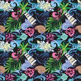 Tropical Vector Pattern on Black Royalty Free Stock Images