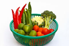 Tropical vegetables. Tropical vegetables in the green basket Stock Photos