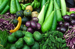 Tropical vegetables on indian market. Diversity of tropical vegetables, Shillong, Meghalaya, India Royalty Free Stock Photography