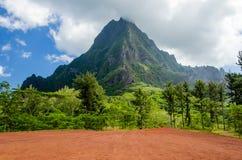 Tropical Vegetation against a Blue. Sky, Island of Moorea, French Polynesia stock photos