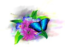 Tropical vegetation and butterflies on the background of multicolored paint splashes. royalty free stock photos
