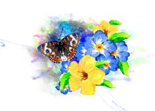 Tropical vegetation and butterflies on the background of multicolored paint splashes. stock photo