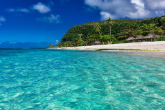 Tropical vibrant natural beach on Samoa Island with palm trees a Royalty Free Stock Photography