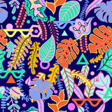 Tropical vibrant tropical leaves seamless pattern. Tropical vibrant background with tropical leaves print seamless pattern. Vibratory pink colors of the jungle Stock Photos