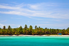 Tropical View. View over beach at Sahona Island, Dominican Republic Stock Images