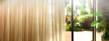Tropical view background. Summer, travel, vacation and holiday concept. Open window, door and white curtain with blurred. Palm garden view from hotel. Exotic Stock Photos