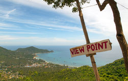 Tropical view point with sign. View from the hillside of a tropical island with a sign saying view point Stock Photography