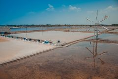 Tropical view of salt evaporation pond or lake at countryside. Tropical view of salt evaporation pond or lake at countryside of Thailand royalty free stock photo