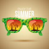 Tropical view in sunglasses Stock Photography