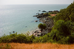 Tropical view to the ocean, beautiful hilly coastline in Gokarna Royalty Free Stock Photo