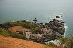 Tropical view to the ocean, beautiful hilly coastline in Gokarna Stock Photography
