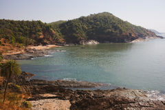Tropical view to the ocean, beautiful hilly coastline in Gokarna Royalty Free Stock Images