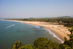 Tropical view to the ocean, beautiful hilly coastline in Gokarna Stock Photos