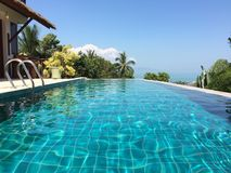Tropical villa pool on a sunny day Royalty Free Stock Photo