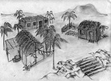Tropical village - sketch. This is a tropical village where houses are surrounded with palm trees Stock Photo