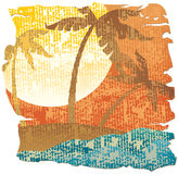 Tropical vintage scene. Vector illustration Royalty Free Stock Photography