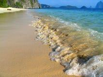Tropical virgin beach. Tropical seascape in El Nido bay, pristine Palawan, Philippines stock photo